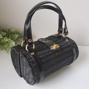 Vintage woven basket barrel purse